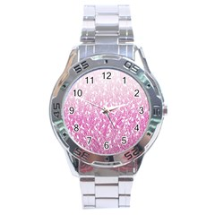Pink Ombre feather pattern, white, Stainless Steel Analogue Watch