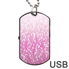 Pink Ombre Feather Pattern, White, Dog Tag Usb Flash (two Sides)