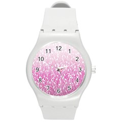 Pink Ombre feather pattern, white, Round Plastic Sport Watch (M)