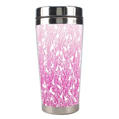 Pink Ombre feather pattern, white, Stainless Steel Travel Tumbler
