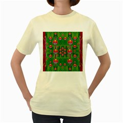 Orchid Forest Filled Of Big Flowers And Chevron Women s Yellow T-Shirt