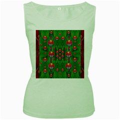 Orchid Forest Filled Of Big Flowers And Chevron Women s Green Tank Top