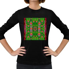 Orchid Forest Filled Of Big Flowers And Chevron Women s Long Sleeve Dark T Shirts