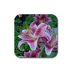 Pink Tiger Lilies Rubber Square Coaster (4 pack)
