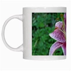 Pink Tiger Lilies White Mugs