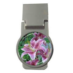 Pink Tiger Lilies Money Clips (Round)