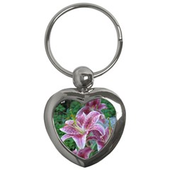 Pink Tiger Lilies Key Chains (Heart)