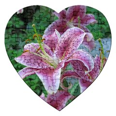 Pink Tiger Lilies Jigsaw Puzzle (Heart)