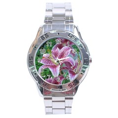 Pink Tiger Lilies Stainless Steel Analogue Watch