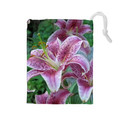 Pink Tiger Lilies Drawstring Pouches (Large)