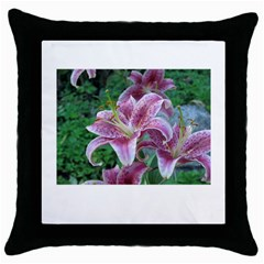 Pink Tiger Lily Black Throw Pillow Case