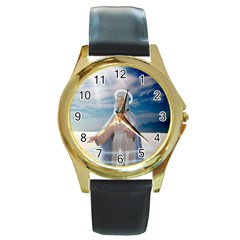 Our Mother Mary Round Gold Metal Watch