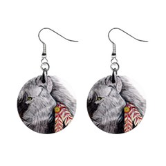 Wolf Feathers  Mini Button Earrings
