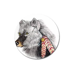 Wolf Feathers  Magnet 3  (Round)