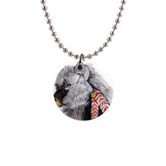Wolf Feathers  Button Necklaces