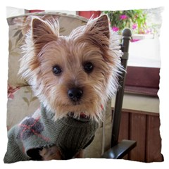 Tea Cup Yorkie Large Flano Cushion Case (One Side)