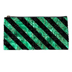 Stripes3 Black Marble & Green Marble (r) Pencil Case