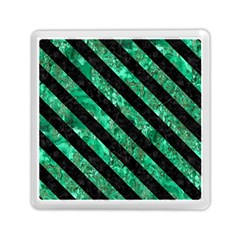 Stripes3 Black Marble & Green Marble (r) Memory Card Reader (square)