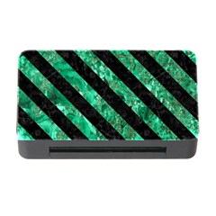 Stripes3 Black Marble & Green Marble (r) Memory Card Reader With Cf
