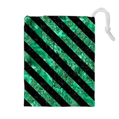 Stripes3 Black Marble & Green Marble (r) Drawstring Pouch (xl)