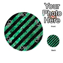 Stripes3 Black Marble & Green Marble Playing Cards 54 (round)