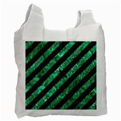 Stripes3 Black Marble & Green Marble Recycle Bag (one Side)