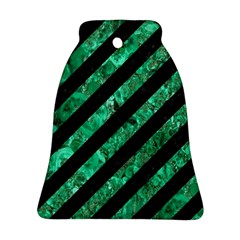 Stripes3 Black Marble & Green Marble Ornament (bell)