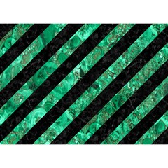 Stripes3 Black Marble & Green Marble Birthday Cake 3d Greeting Card (7x5)