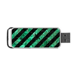 Stripes3 Black Marble & Green Marble Portable Usb Flash (two Sides)