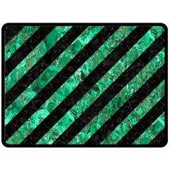 Stripes3 Black Marble & Green Marble Double Sided Fleece Blanket (large)