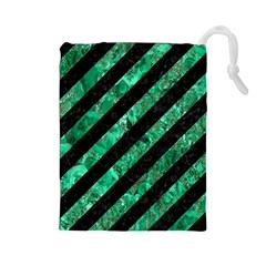 Stripes3 Black Marble & Green Marble Drawstring Pouch (large)
