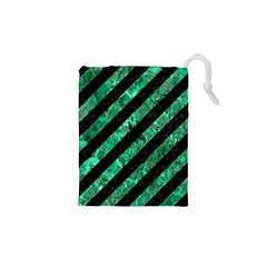 Stripes3 Black Marble & Green Marble Drawstring Pouch (xs)