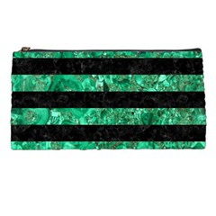 Stripes2 Black Marble & Green Marble Pencil Case