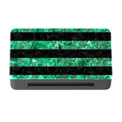 Stripes2 Black Marble & Green Marble Memory Card Reader With Cf
