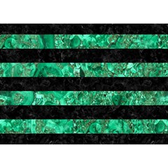Stripes2 Black Marble & Green Marble Birthday Cake 3d Greeting Card (7x5)