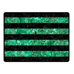 Stripes2 Black Marble & Green Marble Double Sided Fleece Blanket (small)