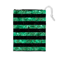 Stripes2 Black Marble & Green Marble Drawstring Pouch (large)
