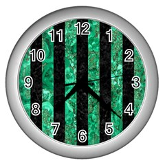 Stripes1 Black Marble & Green Marble Wall Clock (silver)