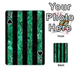 Stripes1 Black Marble & Green Marble Playing Cards 54 Designs