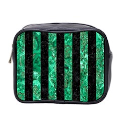 Stripes1 Black Marble & Green Marble Mini Toiletries Bag (two Sides)