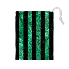 Stripes1 Black Marble & Green Marble Drawstring Pouch (large)