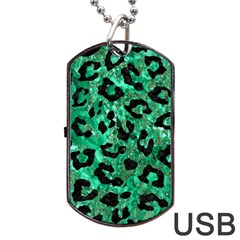 Skin5 Black Marble & Green Marble Dog Tag Usb Flash (one Side)