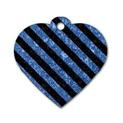 STR3 BK-BL MARBLE (R) Dog Tag Heart (One Side)