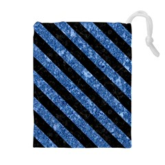 STR3 BK-BL MARBLE (R) Drawstring Pouches (Extra Large)