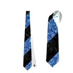 Stripes3 Black Marble & Blue Marble Necktie (one Side)