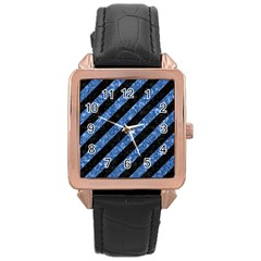 STR3 BK-BL MARBLE Rose Gold Leather Watch