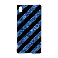 Stripes3 Black Marble & Blue Marble Sony Xperia Z3+ Hardshell Case