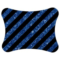Stripes3 Black Marble & Blue Marble Jigsaw Puzzle Photo Stand (bow)