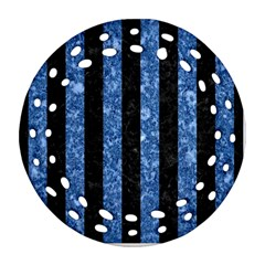Stripes1 Black Marble & Blue Marble Round Filigree Ornament (two Sides)