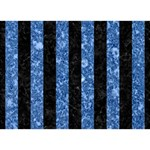 STRIPES1 BLACK MARBLE & BLUE MARBLE Circle 3D Greeting Card (7x5) Back